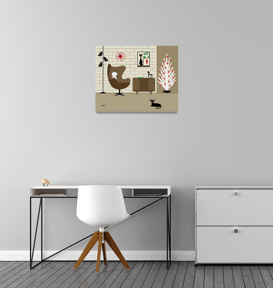 """""""Christmas Room with White Dog""""  by DMibus"""
