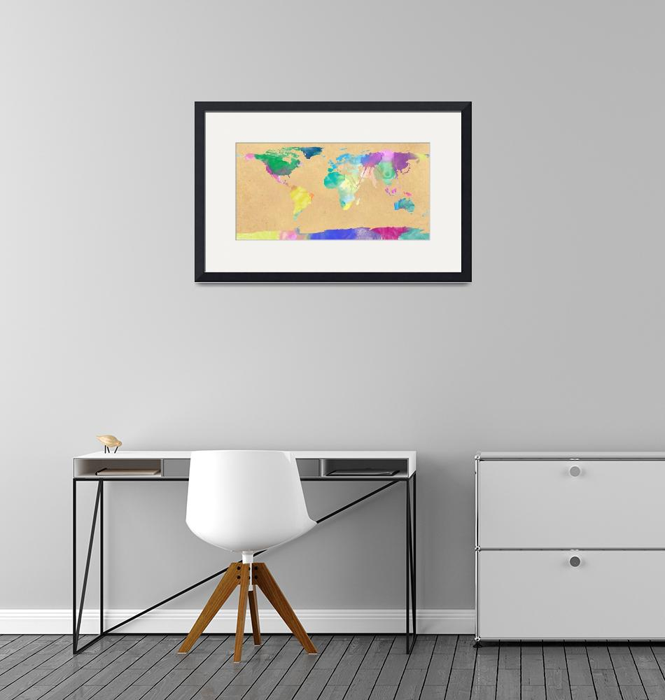"""watercolor world map 1"" (2012) by gsquared"