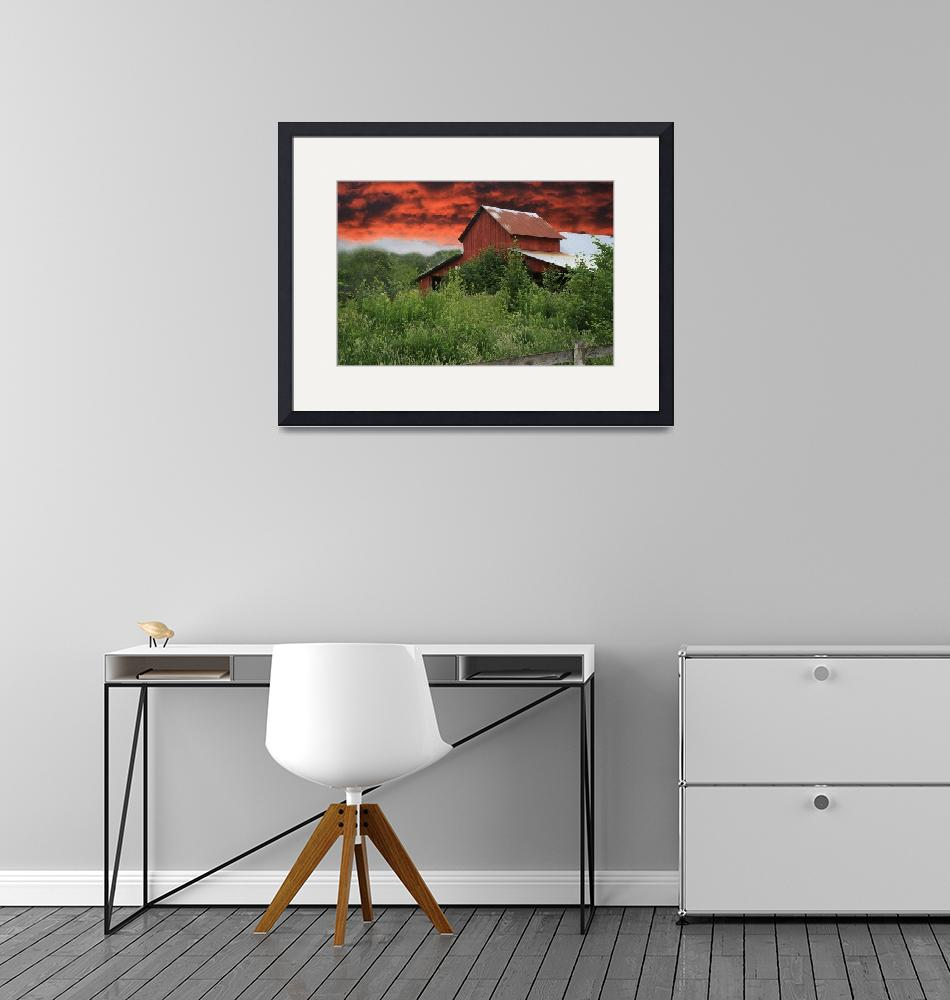 """""""Red Barn Under Red Sky""""  (2007) by Sari_McNamee"""