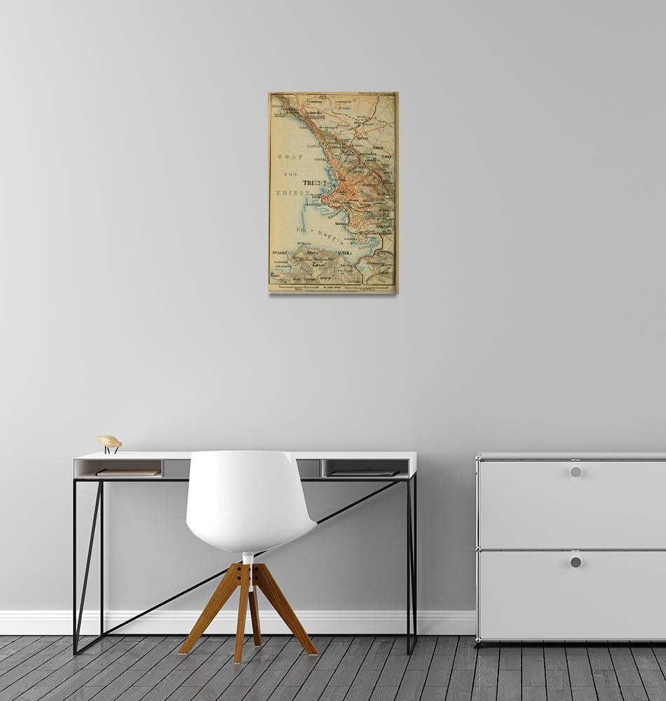 """""""Vintage Trieste Italy Map (1911)""""  by Alleycatshirts"""