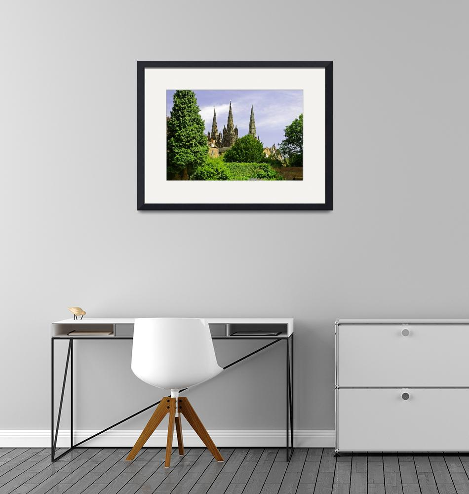 """""""Lichfield Cathedral from the Garden""""  (2011) by rodjohnson"""