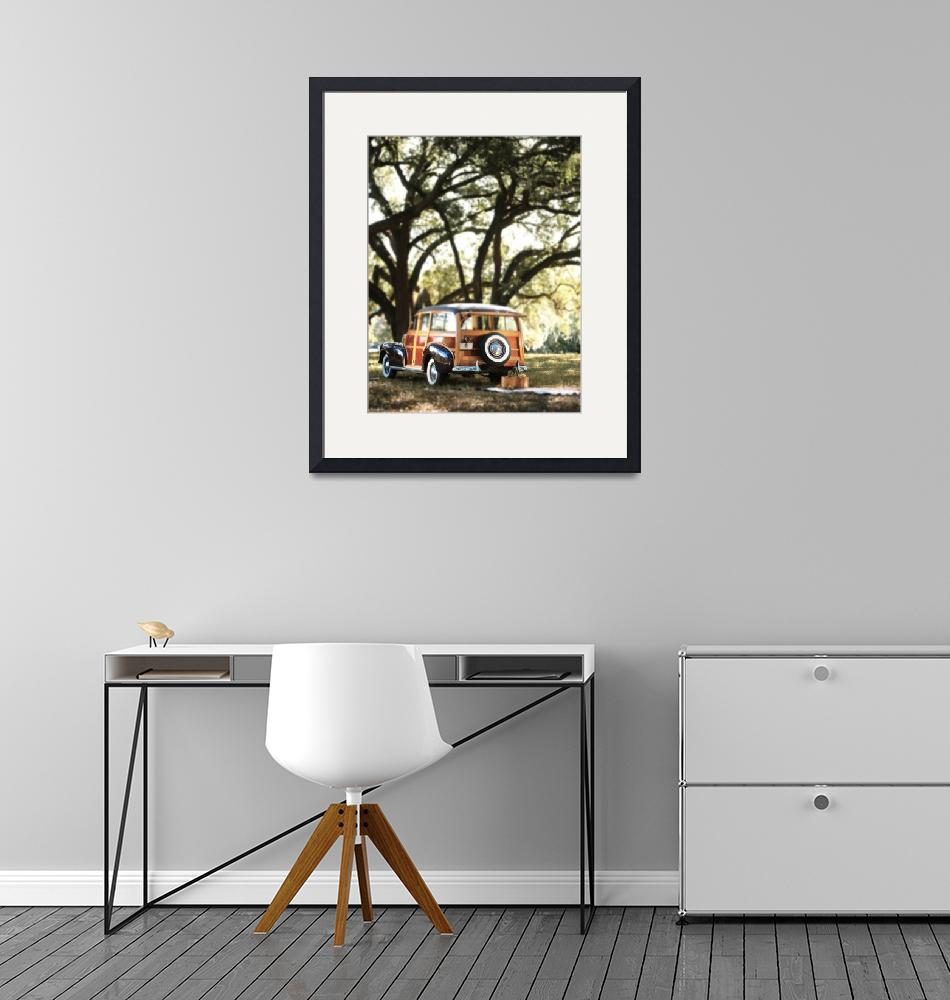 """""""Vintage Ford woody wagon parked under Banyon tree""""  by Morganhowarth"""