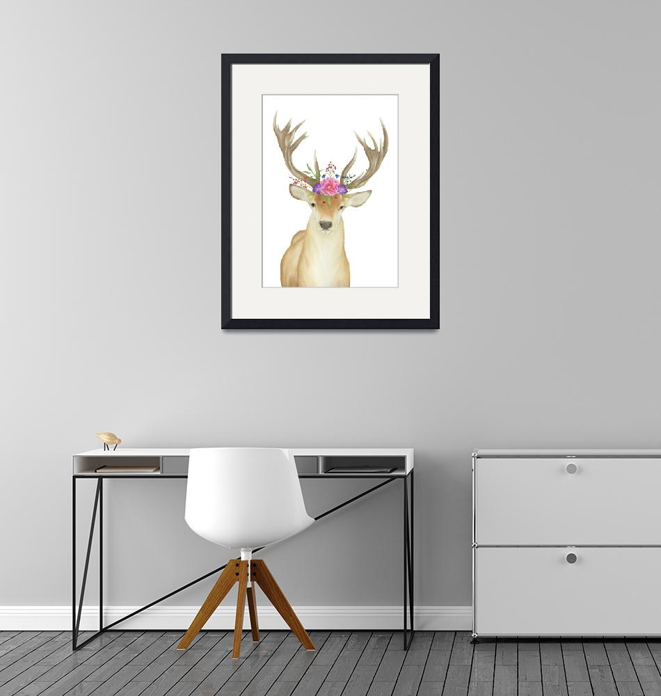 """""""Stag Watercolor"""" (2018) by taylansoyturk"""