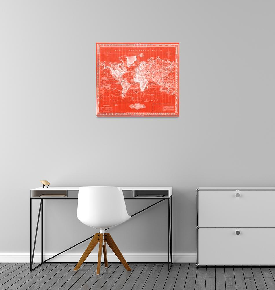 """""""Vintage Map of The World (1833) Red & White"""" by Alleycatshirts"""