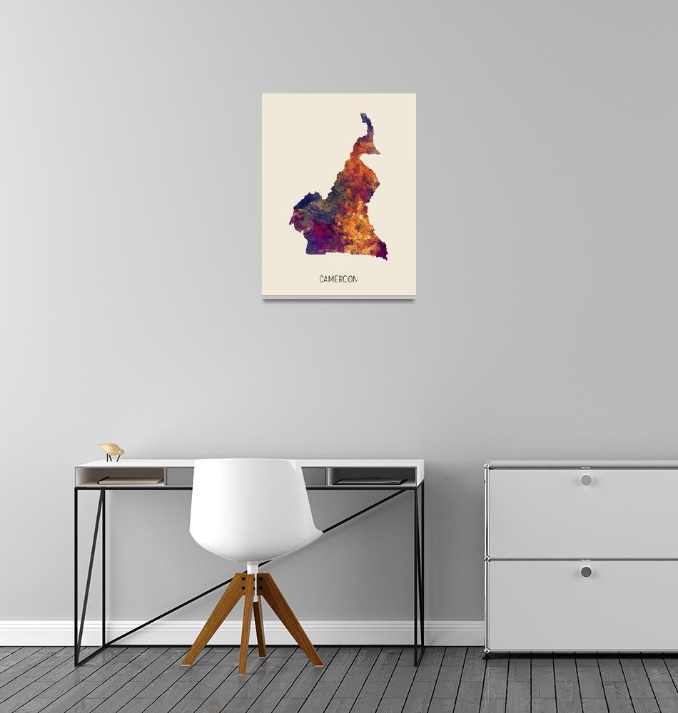 """Cameroon Watercolor Map""  (2019) by ModernArtPrints"