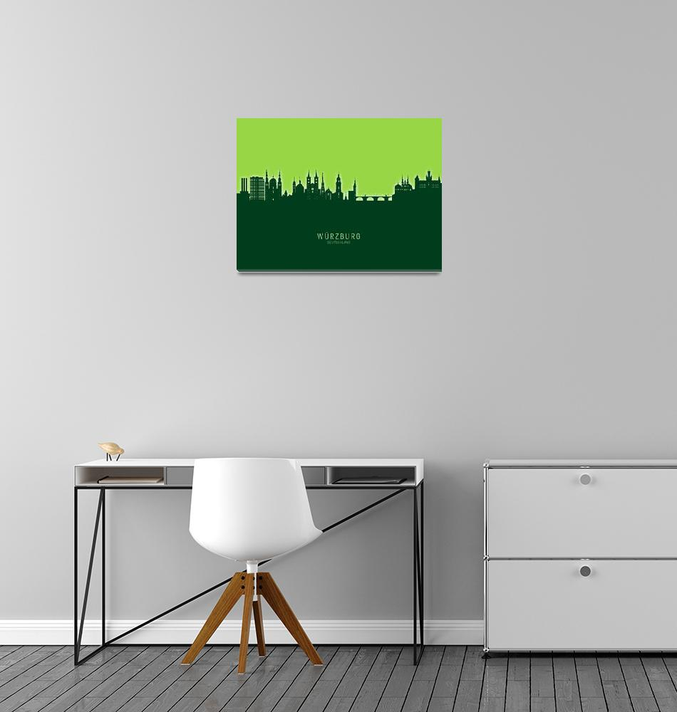 """Würzburg Germany Skyline""  (2020) by ModernArtPrints"