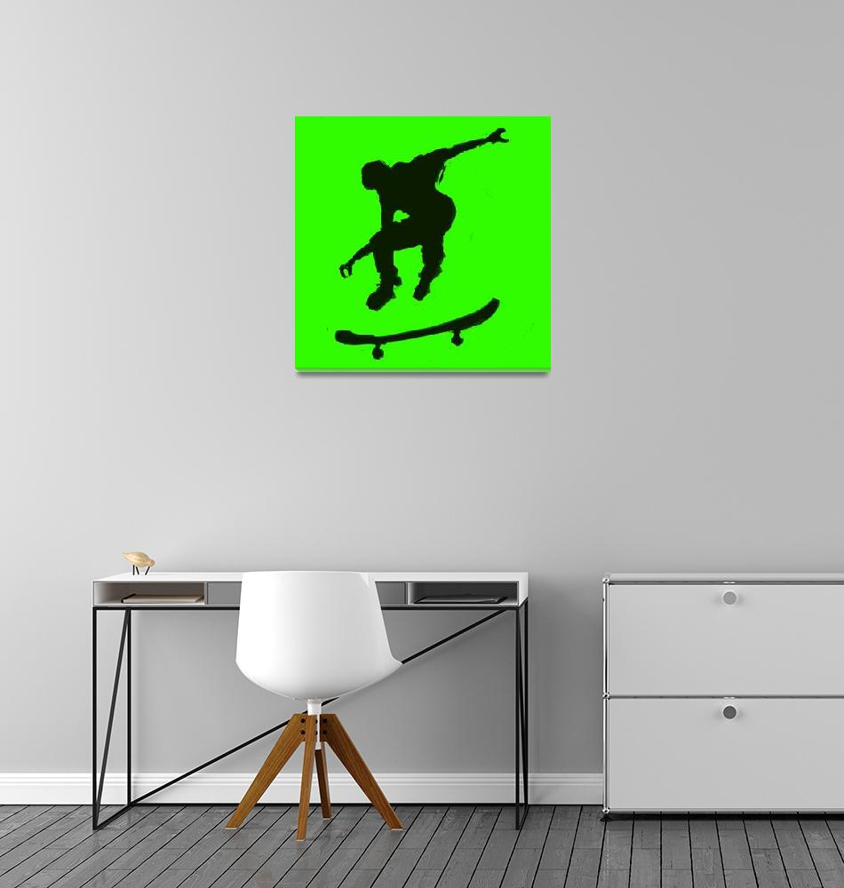 """""""Skateboarder 3 . green yellow (c)""""  (2014) by edmarion"""