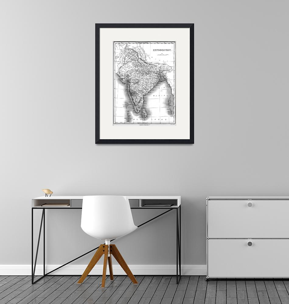 """""""Vintage Map of India (1831) BW""""  by Alleycatshirts"""