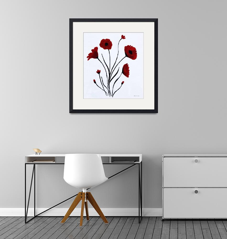 """""""Expressive Abstract Poppies A61216B_e""""  (2016) by MasArtStudio"""