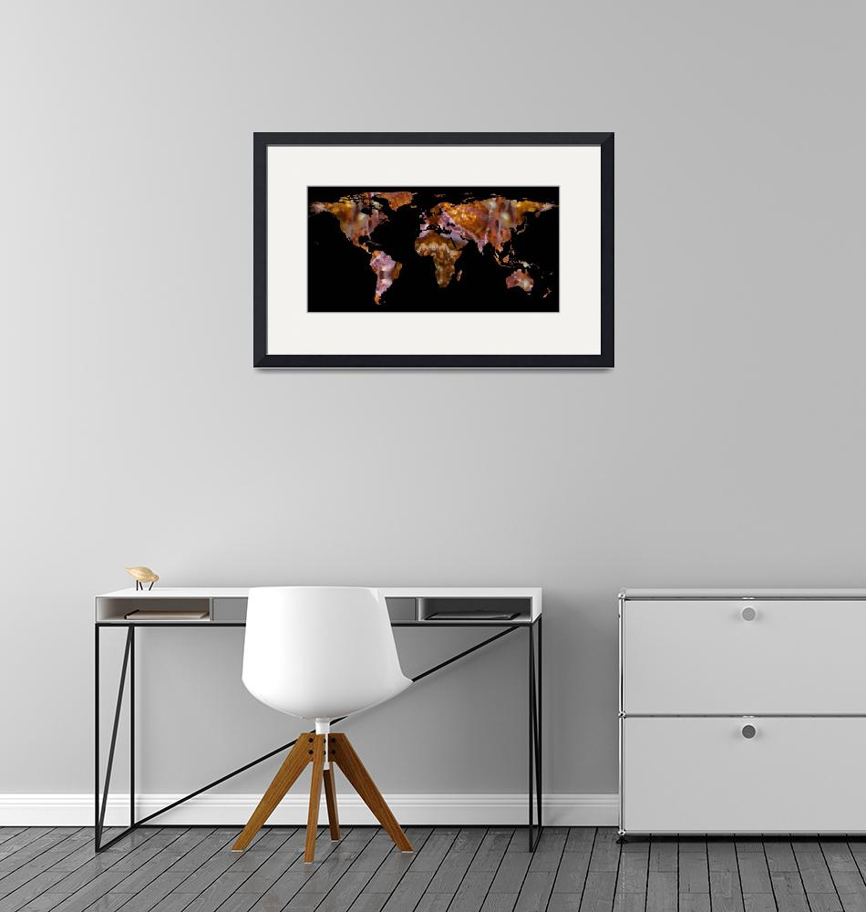 """World Map Silhouette - Eel Photographic Mandala""  by Alleycatshirts"