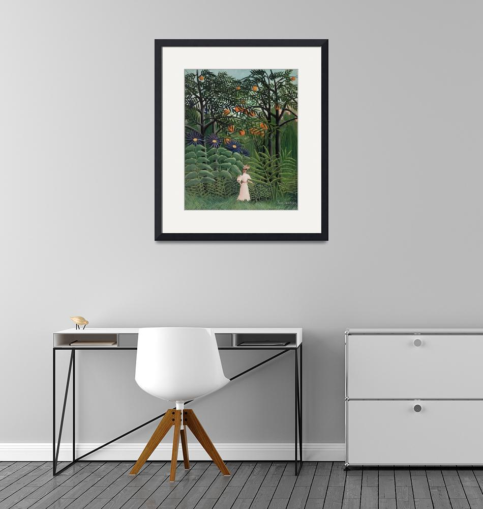"""Woman Walking in an Exotic Forest by Rousseau""  by FineArtClassics"