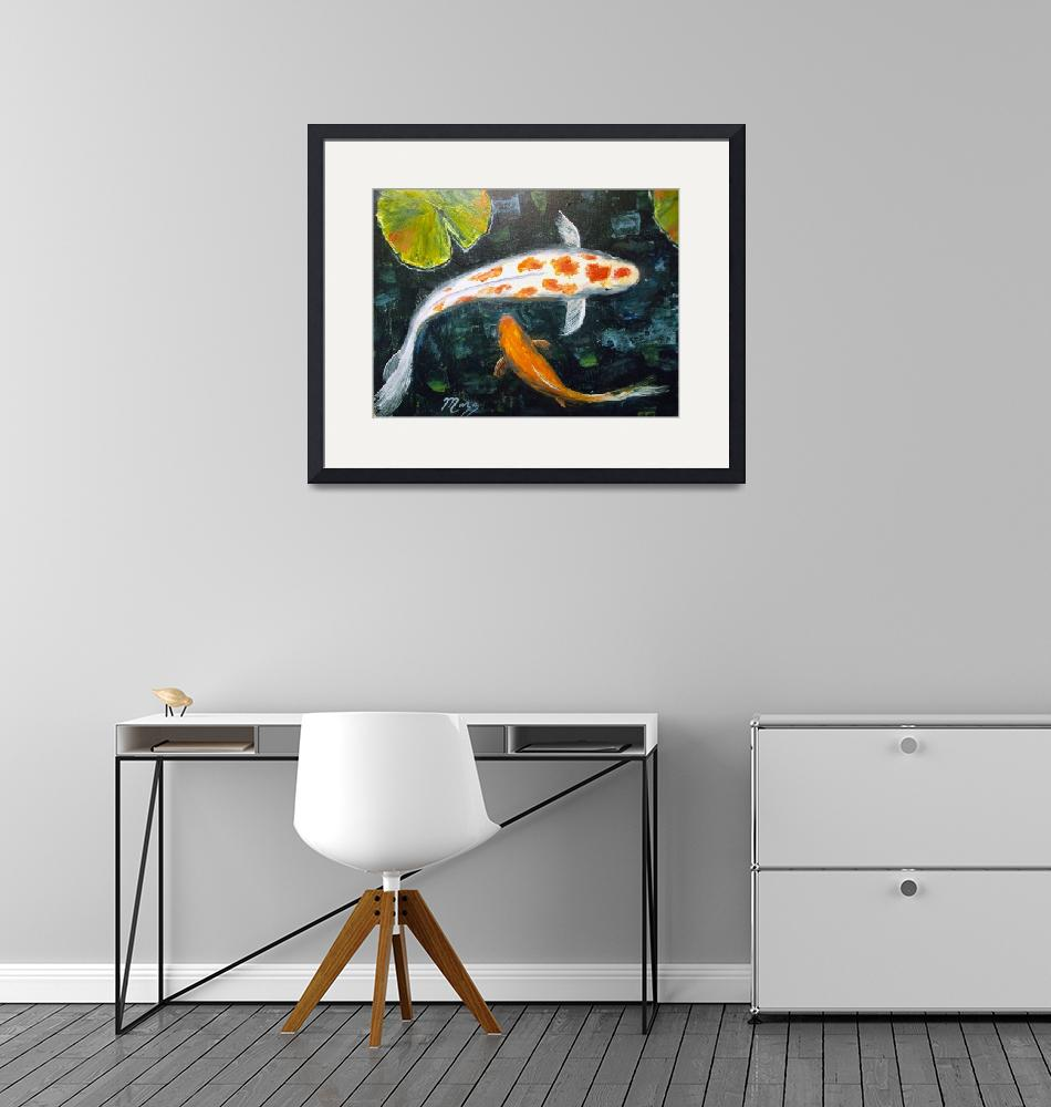 """""""Koi with Lily Pads""""  (2013) by mazz"""