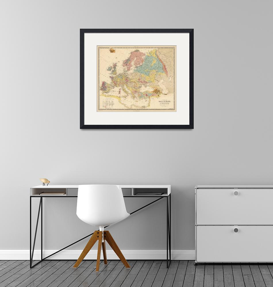 """Vintage Geological Map of Europe (1856)""  by Alleycatshirts"