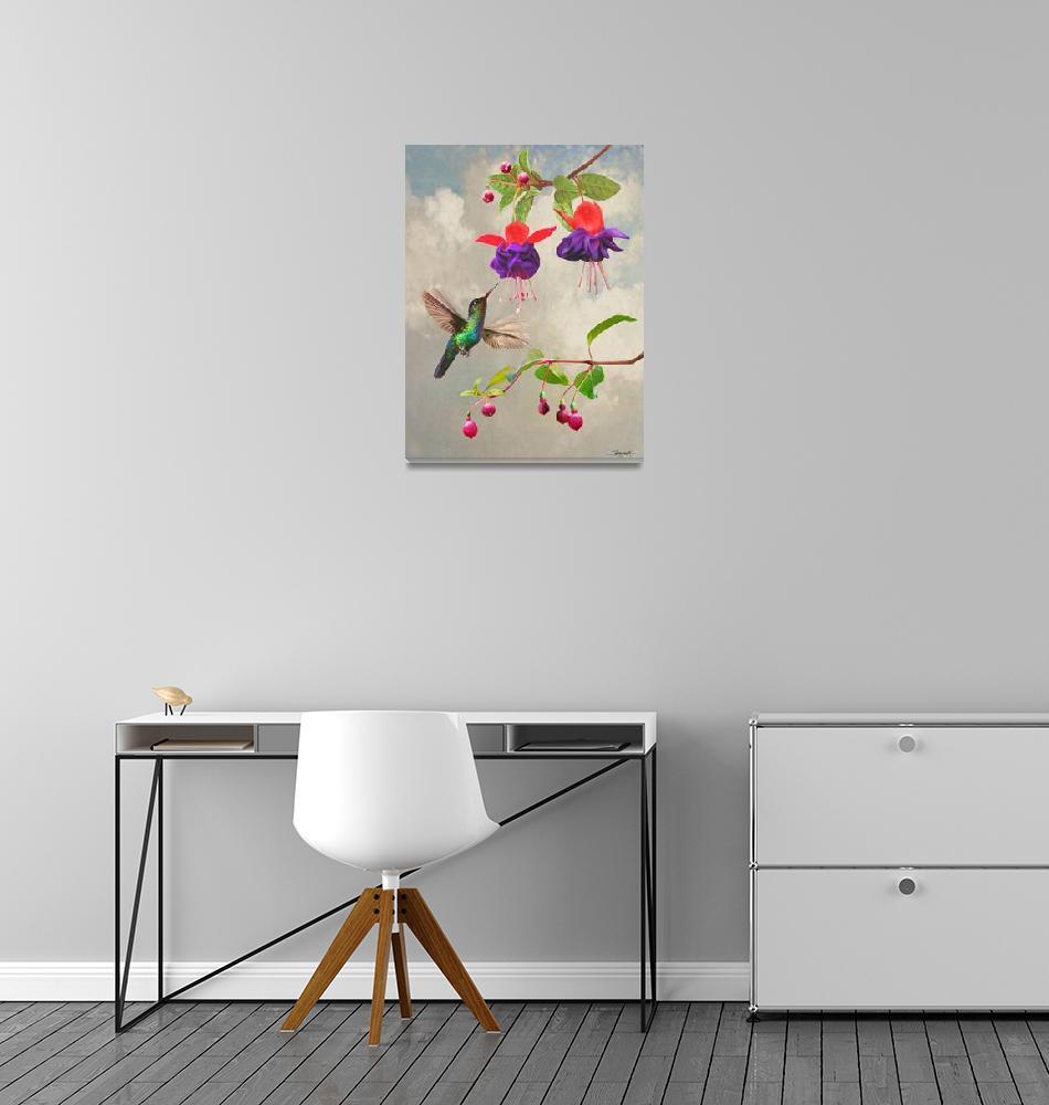 """Fuchsia and Hummingbird""  by spadecaller"