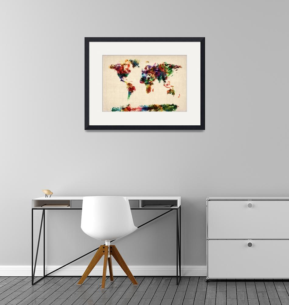 """""""Map of the World Map Abstract Painting""""  (2012) by ModernArtPrints"""