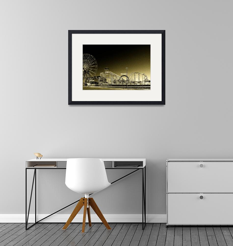 """""""Deserted Ocean City Amusement Pier Painted Gold""""  by travel"""