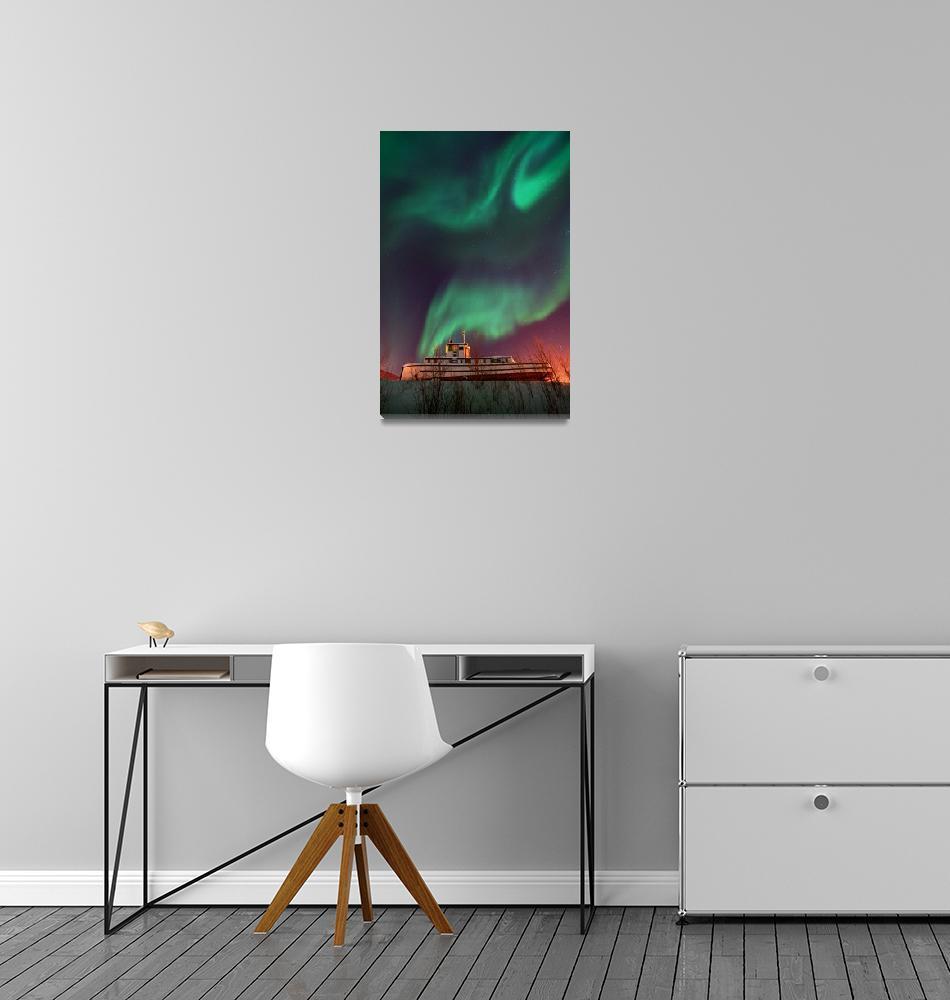 """steamboat under northern lights""  by Piri"