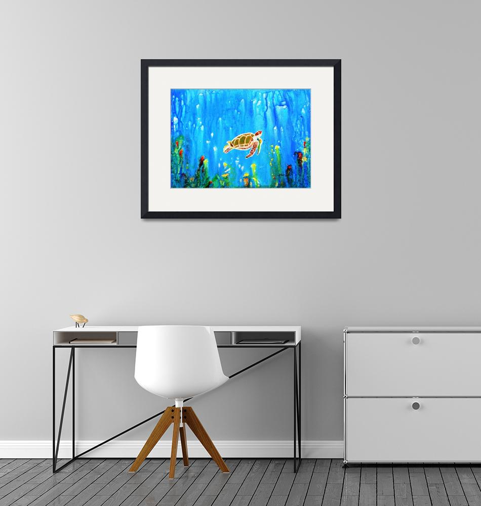 """""""Underwater Magic 5-Happy Turtle excellent gift for""""  (2017) by mkanvinde"""