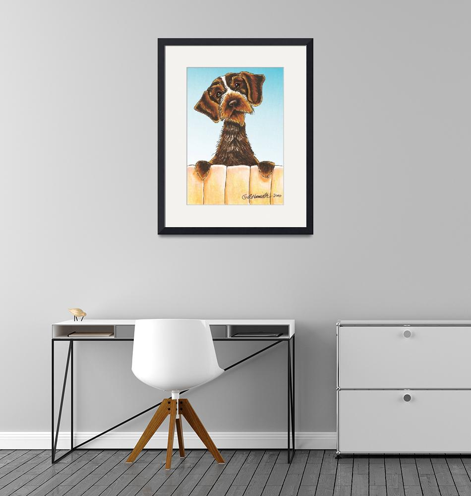 """Wirehaired Pointing Griffon Portrait""  (2010) by OffLeashArt"