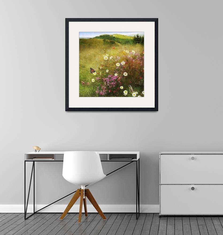 """""""meadow scene with monarch and yellowthroat""""  (2014) by rchristophervest"""