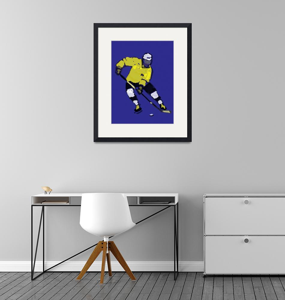 """""""Hockey Left Wing blue yellow black (c)""""  (2014) by edmarion"""
