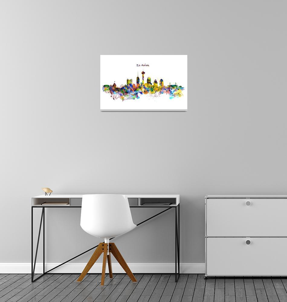 """""""San Antonio Skyline Silhouette""""  (2016) by MarianVoicu"""