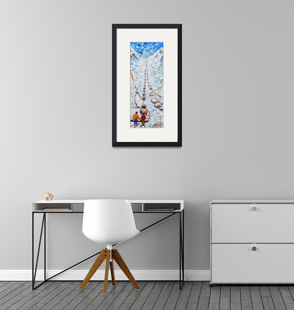 """""""Chair Lift Ski Print by Pete Caswell""""  (2020) by PeteCaswell"""