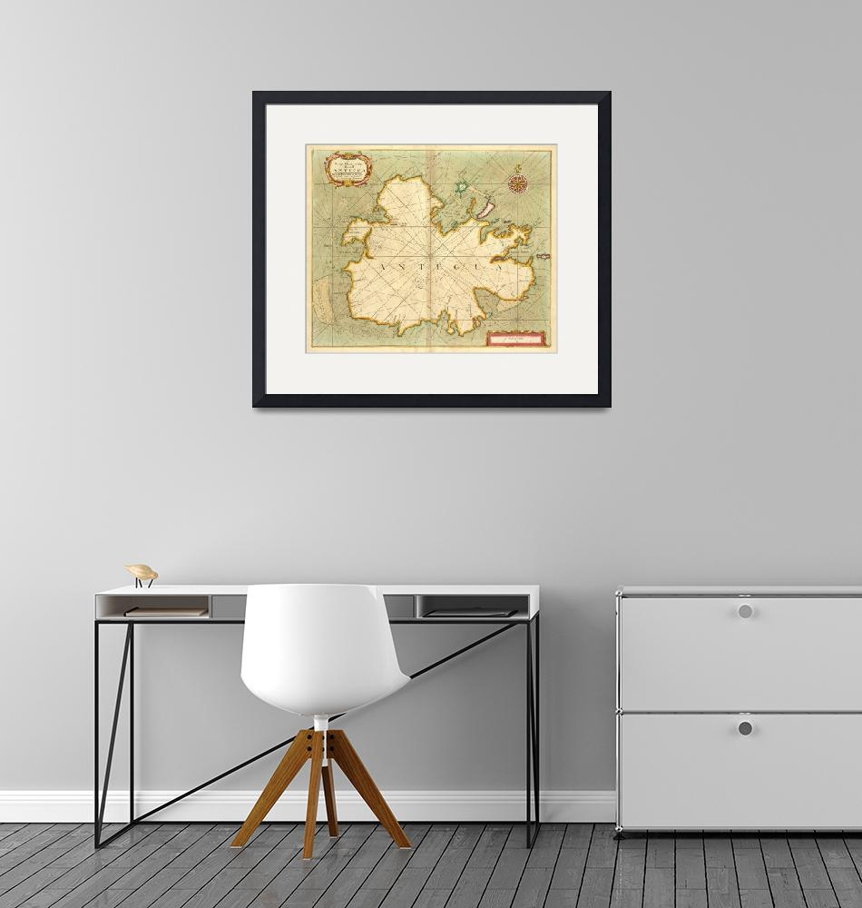 """""""Vintage Map of Antigua (1702)""""  by Alleycatshirts"""