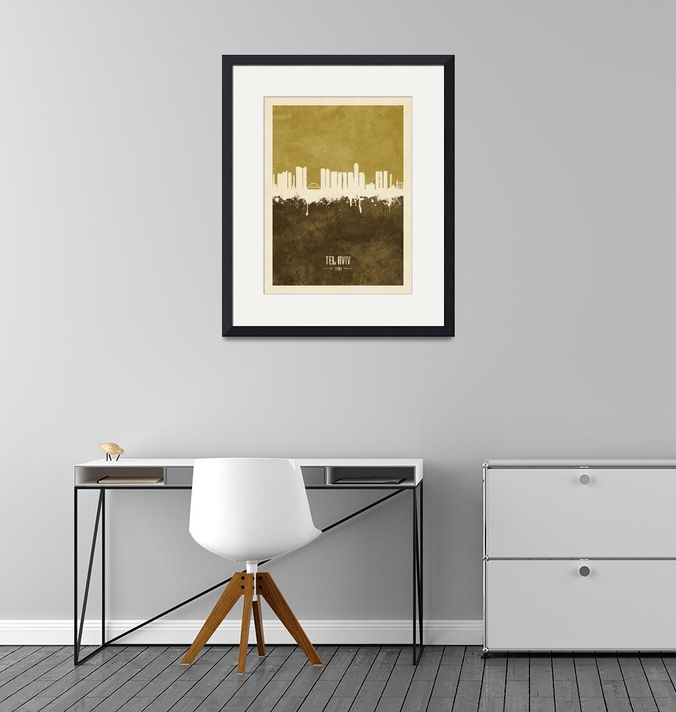 """Tel Aviv Israel Skyline""  (2019) by ModernArtPrints"