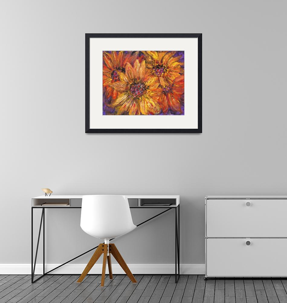 """""""Textured Yellow and Red Sunflowers""""  (2009) by nadinerippelmeyer"""
