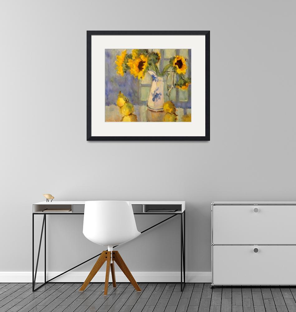 """""""Sunflowers and Pears""""  (2013) by KarenMeredithArt"""