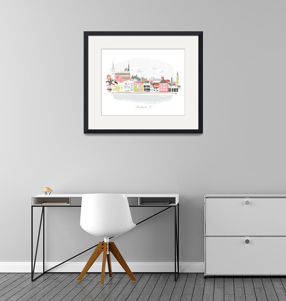 """Charleston Modern Cityscape Illustration""  by AlbieDesigns"