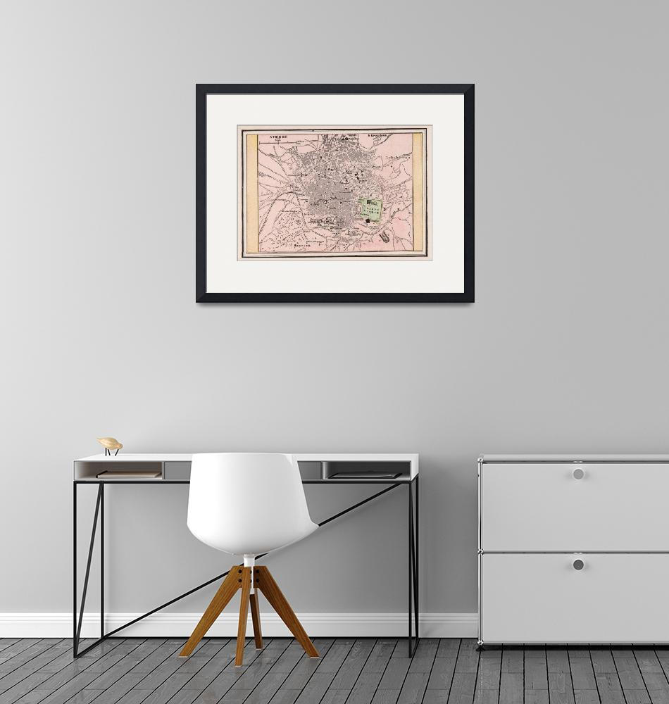 """""""Vintage Map of Athens Greece (1901)""""  by Alleycatshirts"""