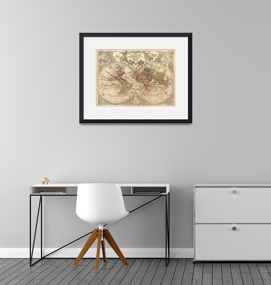 """Vintage Map of The World (1775) 3""  by Alleycatshirts"
