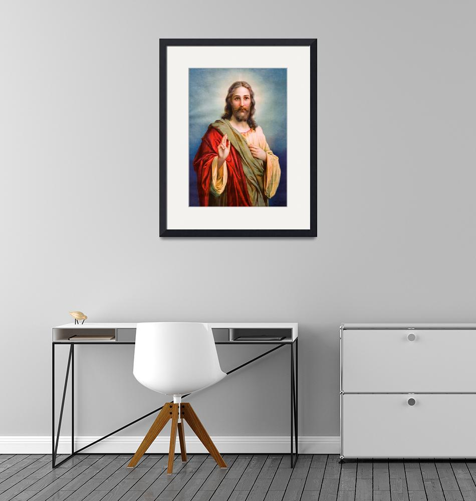 """""""Jesus Christ Blessing Catholic Picture Christian""""  (1910) by Maggy"""