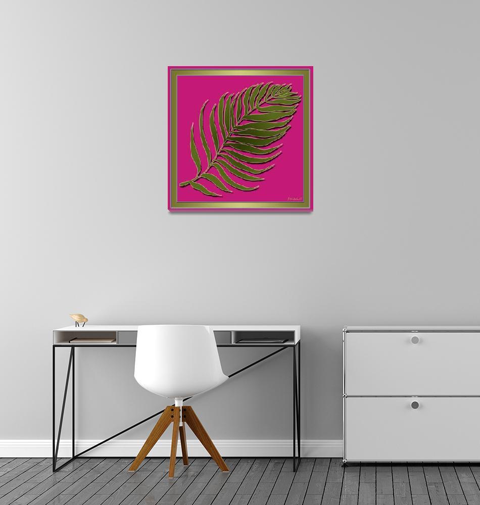 """Pink Green Palm Leaf""  (2014) by TruthJC"