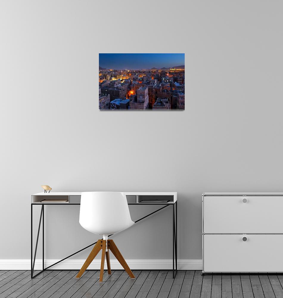 """""""Panorama of Sanaa at night, Yemen""""  by kalishko"""