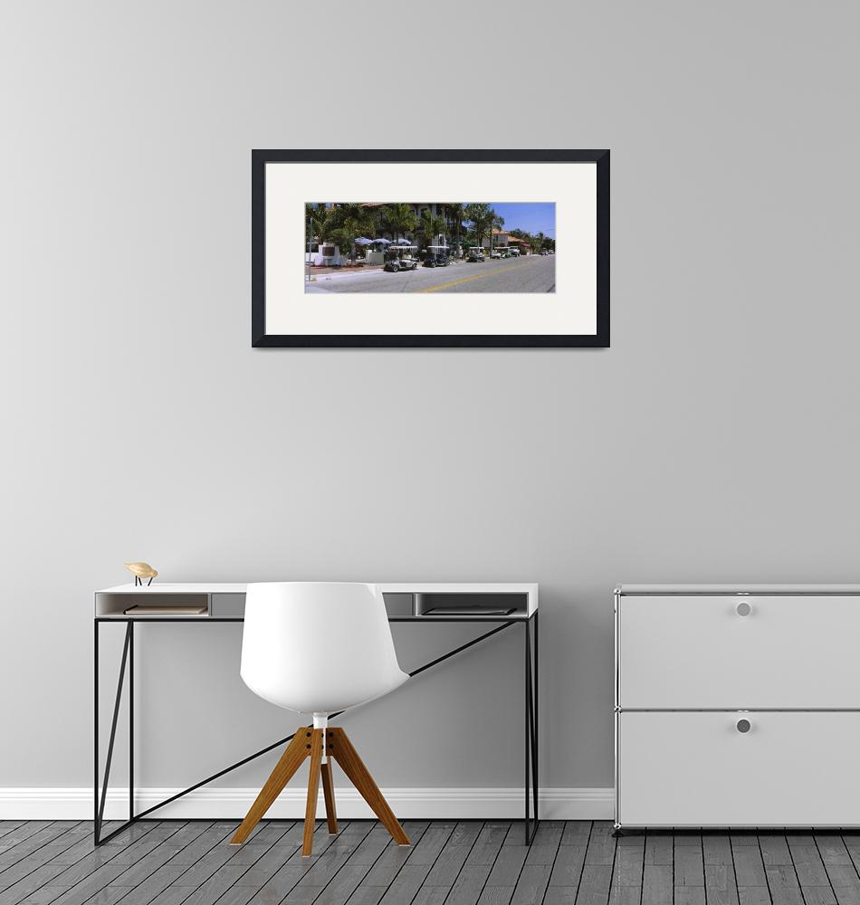 """""""Golf carts and cars parked on a street"""" by Panoramic_Images"""