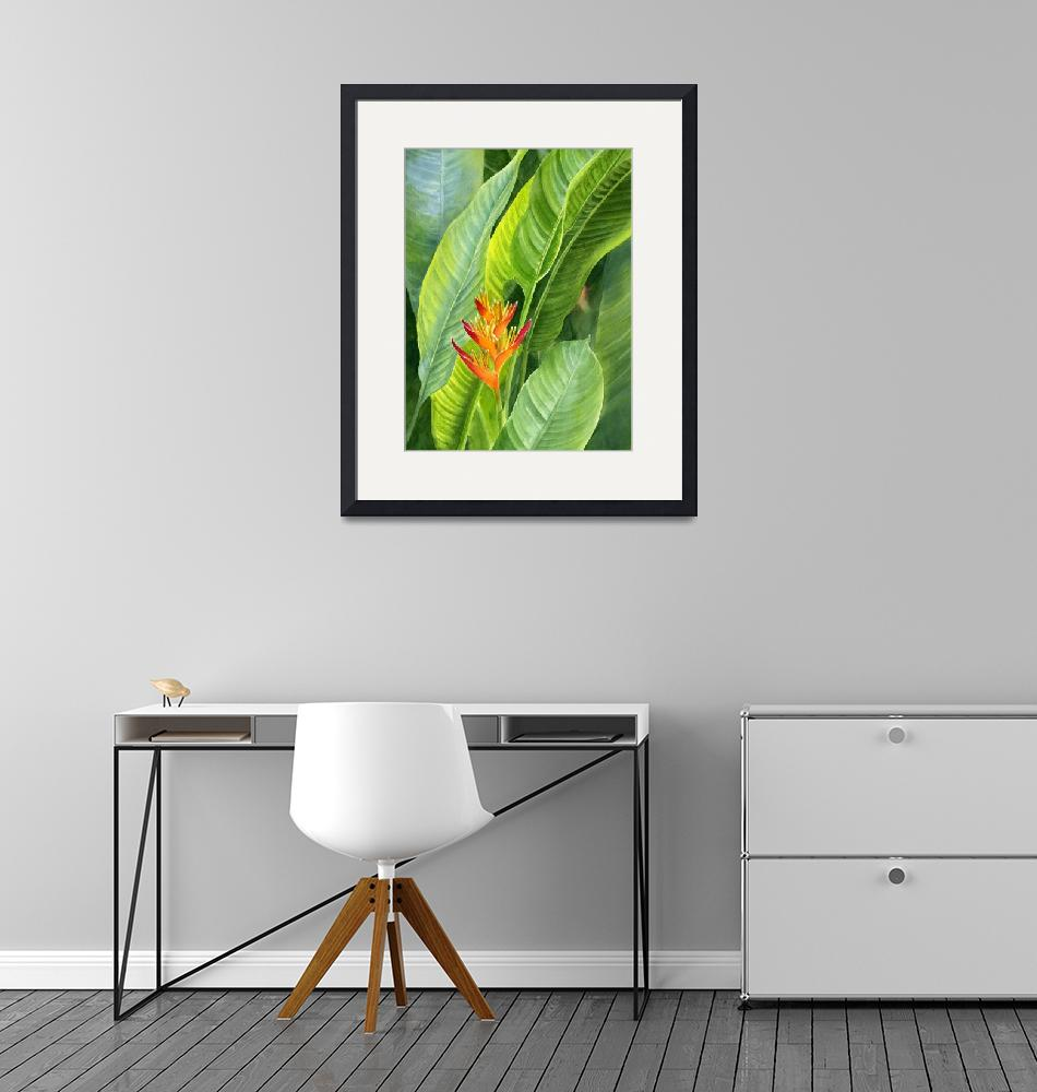 """""""red and gold heliconia with background cloned crop""""  by Pacific-NW-Watercolors"""