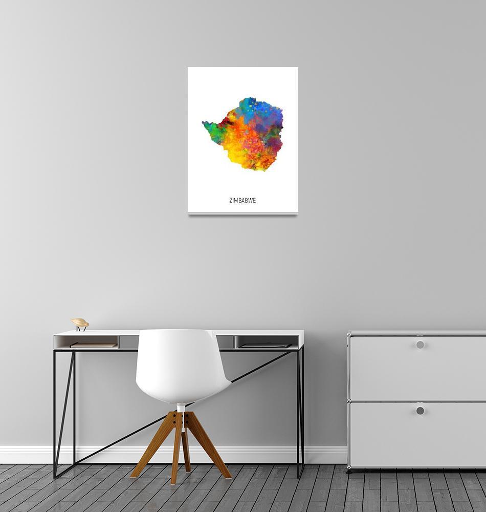 """Zimbabwe Watercolor Map""  (2019) by ModernArtPrints"