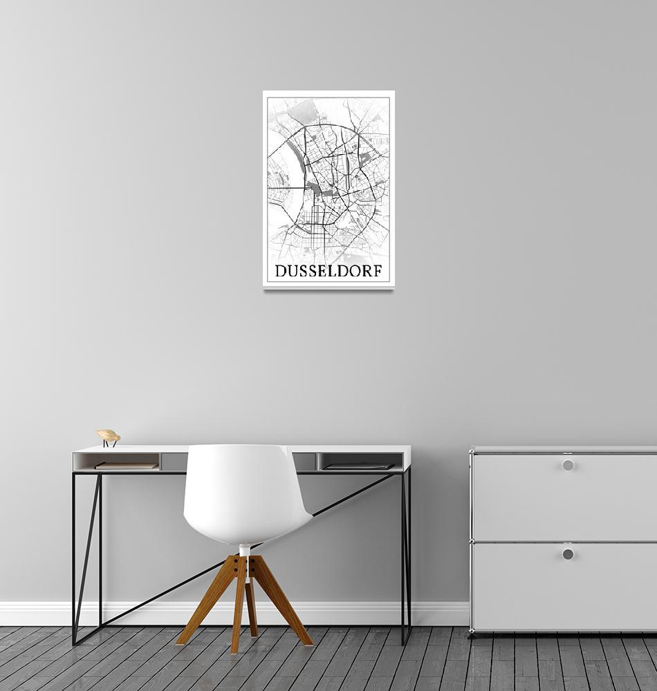 """Düsseldorf, Germany, city map print.""  by dandistudio"