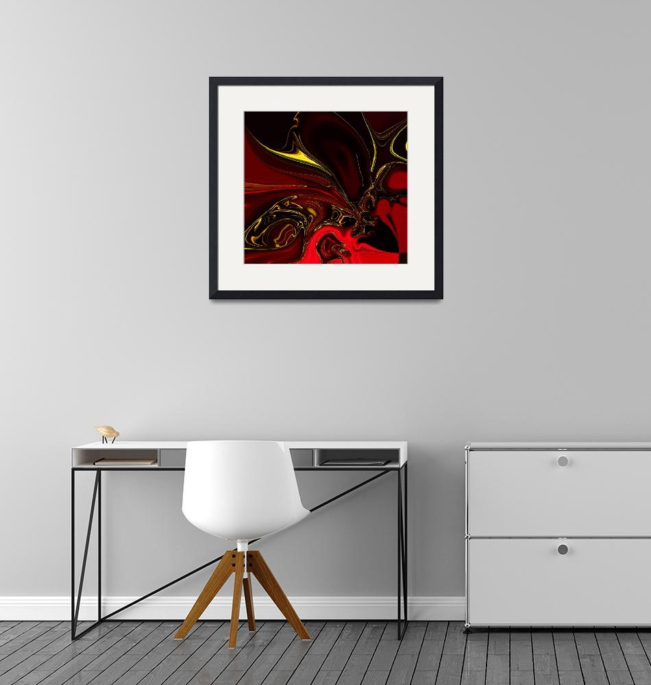 """Zizzago Art Abstract Red Gold Flame 4""  (2009) by shanmaree"