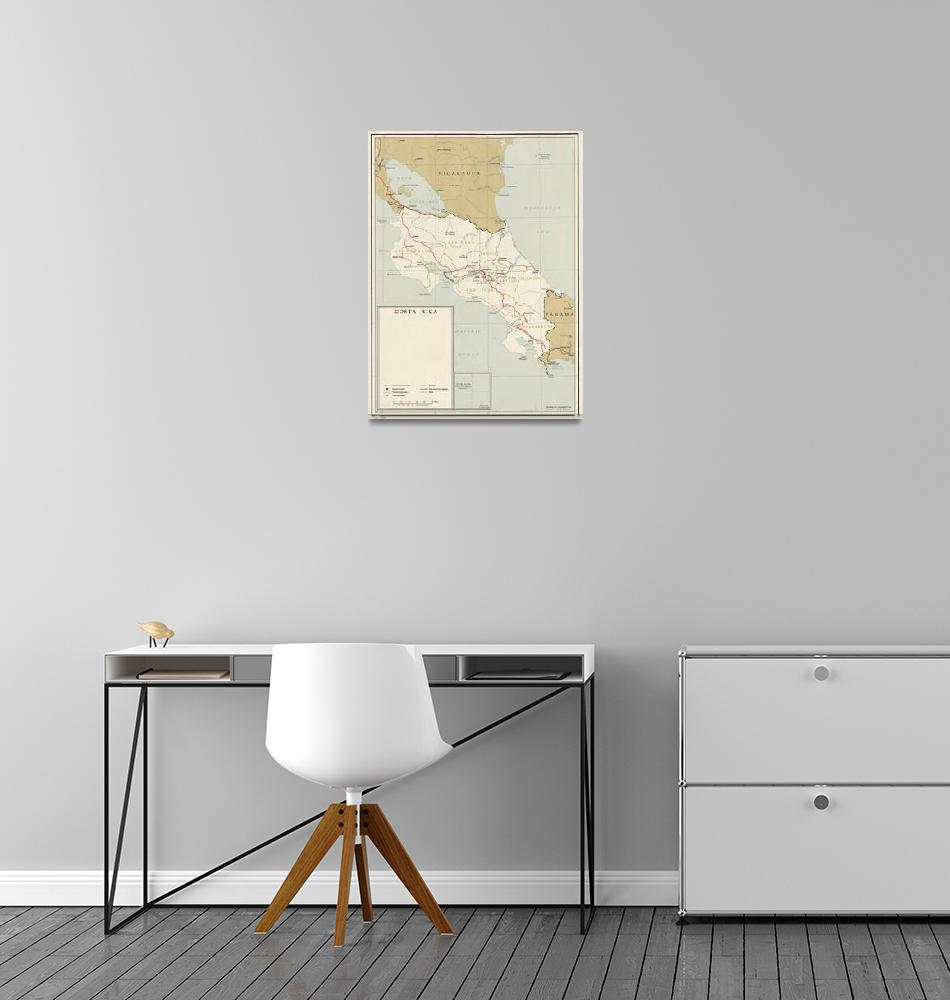"""""""Vintage Map of Costa Rica (1961)""""  by Alleycatshirts"""