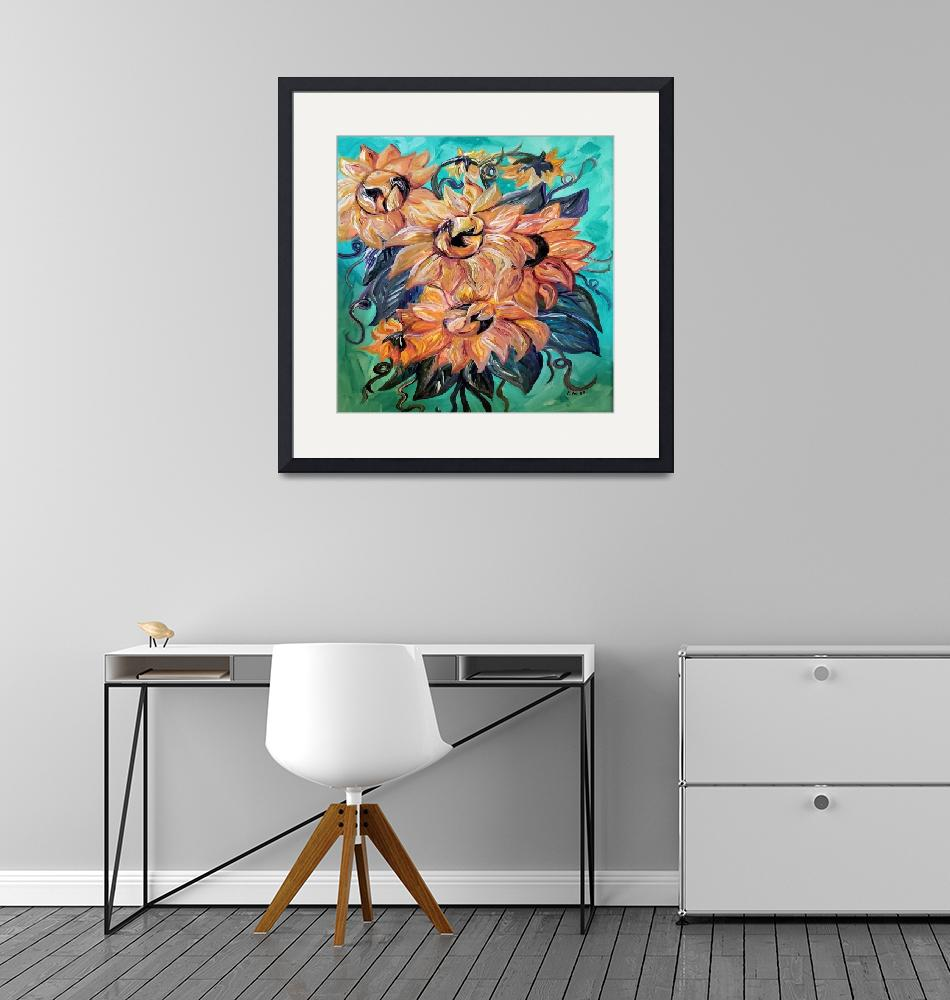"""""""Sunflowers on Teal and Blue Background"""" by EloiseArt"""
