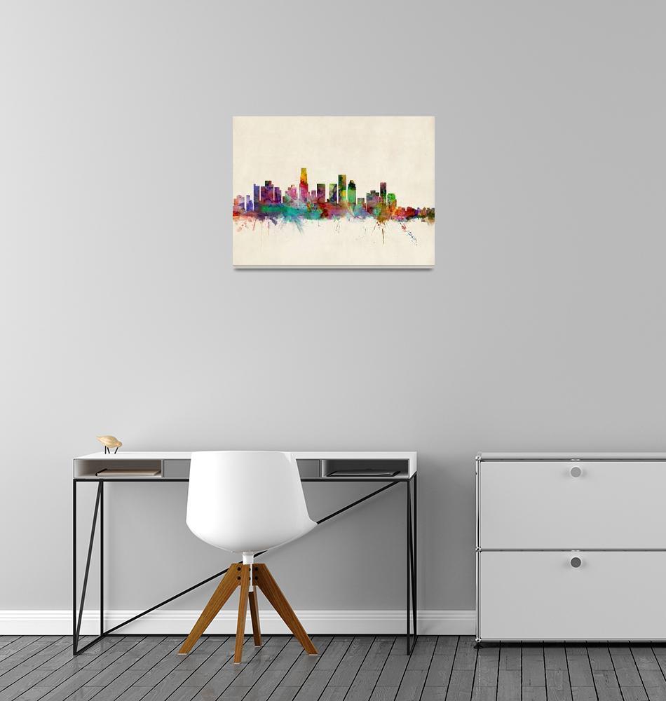 """Los Angeles City Skyline"" (2013) by ModernArtPrints"