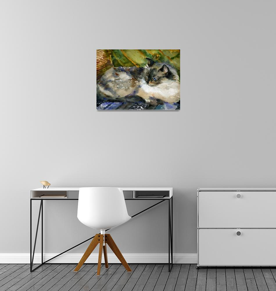 """""""Siamese Basking, Watercolor Painting Animal Cat Ar""""  (2008) by schulmanart"""