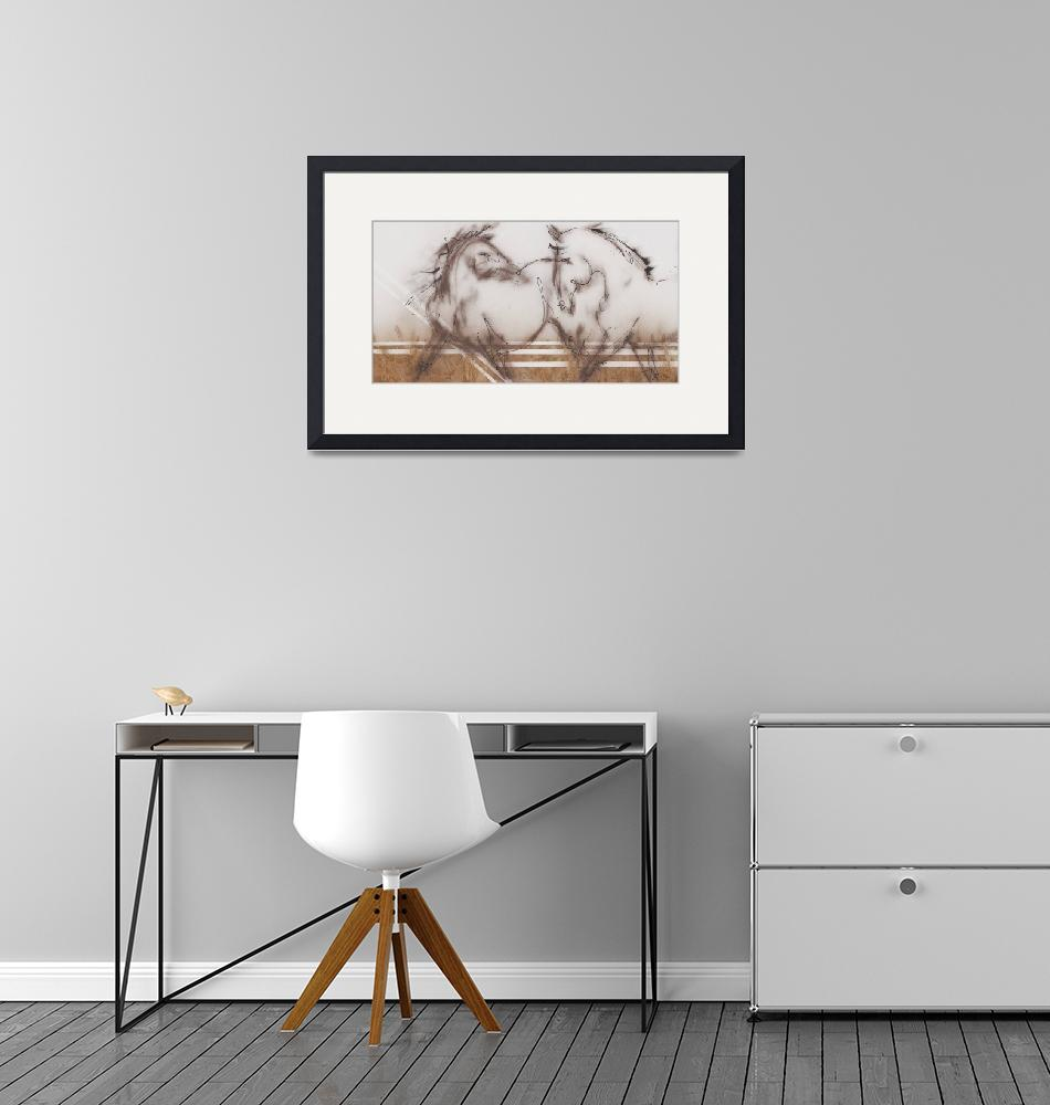 """""""Two Horses""""  by DonnaBFineArt"""