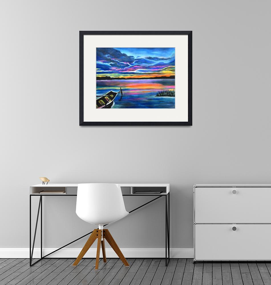 """""""Left Alone A Seascape Boat Painting At Sunset""""  (2017) by mkanvinde"""