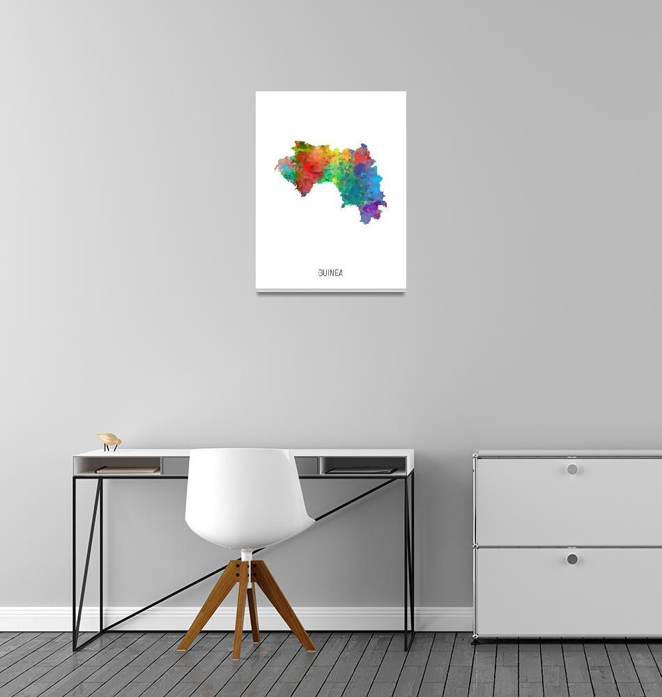 """Guinea Watercolor Map""  (2019) by ModernArtPrints"