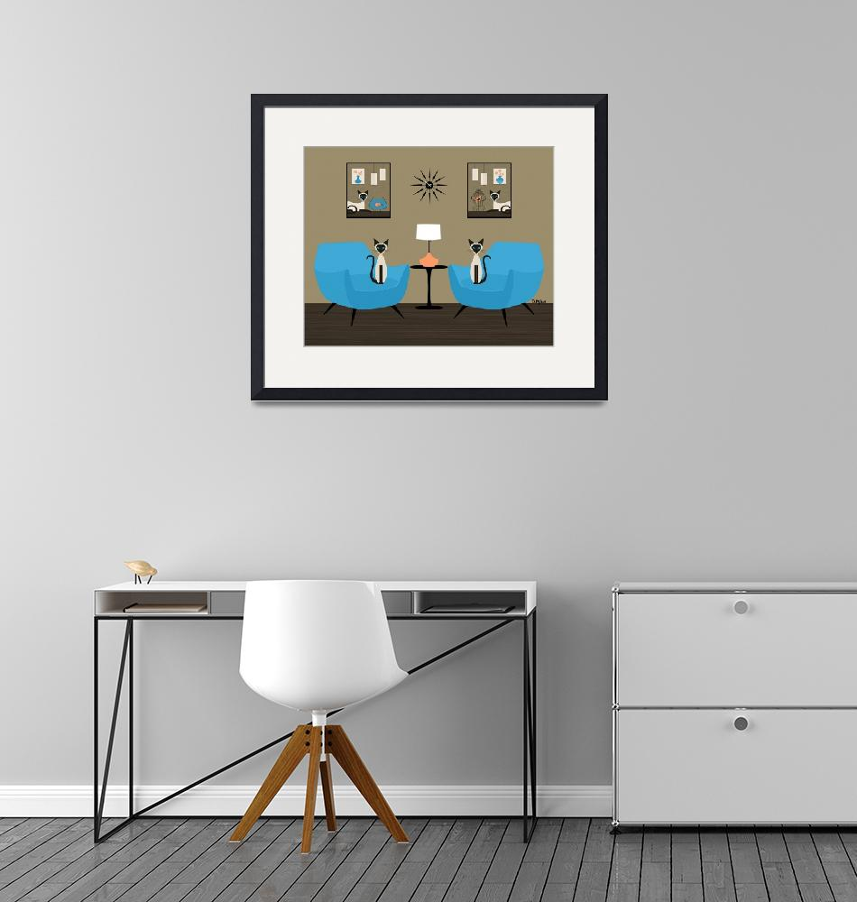 """""""Mid Century Room with Siamese Cats""""  (2020) by DMibus"""